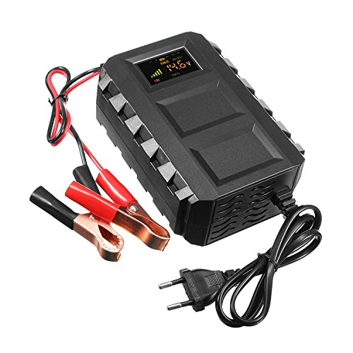 HSeaMall Auto-Blei-Säure-Ladegerät-Digitalanzeige-Batterieladegerät 12V für Auto-Motorrad