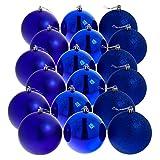 DP-Tech Christbaumkugeln Weihnachtskugeln 6 cm, 18er Pack, blau glänzend/matt/glitzernd