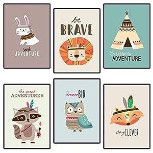 Poster für Kinderzimmer & Babyzimmer – 6 Tribal-Tier Poster-Set für Mädchen und Jungen