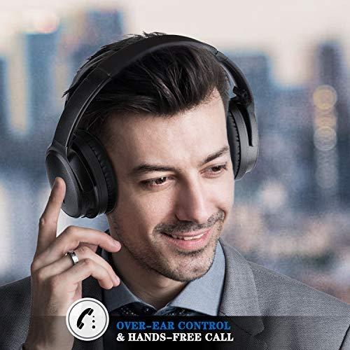 KAMTRON Bluetooth Kopfhörer Noise Cancelling Kabellos - HiFi Stereo Bass Over Ear Headset mit Mikrofon, 26-Stunden-Wiedergabezeit, Flugzeugadapter, faltbar für Reisen und Arbeiten, PC/Handy / TV - 5