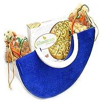 Diwali Hampers - Blue Moon Basket Hamper of Soan Papdi, Almonds and Cashews