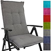 Cojín respaldo para sillas de jardín Tino 118 x 50 x 5,5 cm repelente al agua y a la suciedad - Cómodos cojines con respaldo acolchados y cinta elástica iderales para exteriores, Color:Gris