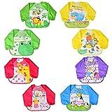 Cozywind 8 Pack Wasserdicht Ärmellätzchen abwaschbar Lätzchen mit Ärmeln Babylätzchen für 6-36 Monate Kinder Kleinkinder Mädchen Jungen