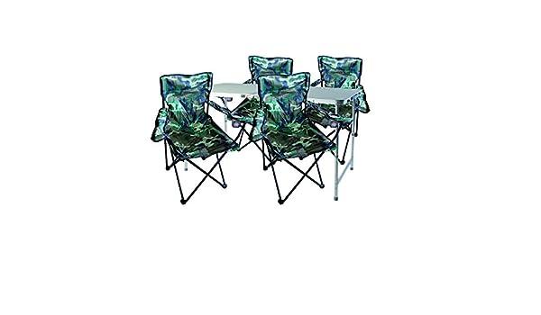 mobili da campeggio set tavolo maniglia di trasporto regolabile in altezza SEDIE Lime con Borsa 5tlg