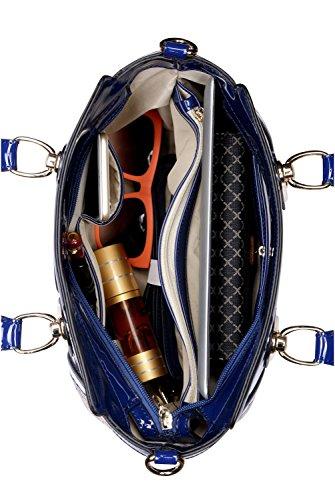 KAXIDY Lackleder Stickerei Spitze Handtasche Schultertasche Handtaschen Damentasche Tasche Henkeltasche (Rot) Blau