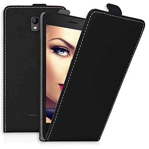 mtb more energy® Flip-Case Tasche für Coolpad Porto (E560, 4.7'') | Schwarz | Kunstleder | Schutz-Tasche Cover Hülle
