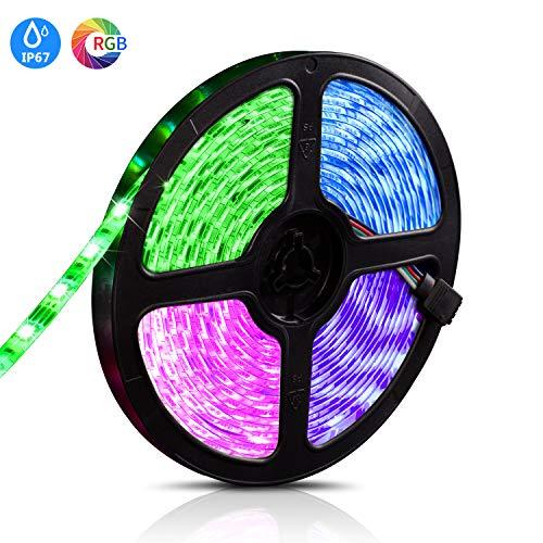 LED Streifen Licht, 5M SMD 5050 RGB 300 LED Wasserdicht Leiste Lichterkette mit 12V 5A Netzteil + 24 Schlüssel IR Fernbedienung für Küche, Räume, Weihnachts Dekorationen
