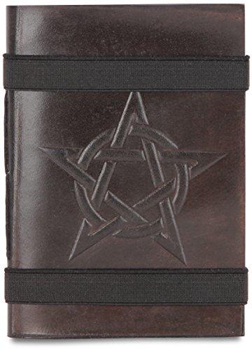 indiary Double Strap Carnet en cuir véritable incrustée et papier Devil Star