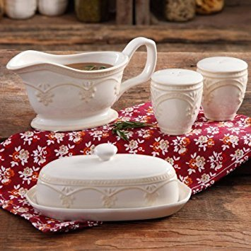 The Pioneer Woman Farmhouse Lace Butter Dish with Gravy Boat and Salt and Pepper Shakers by Product The Pioneer Woman Beige Gravy Boat