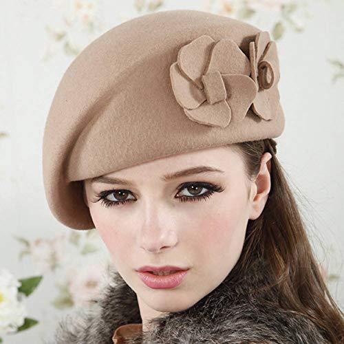 WDMZ Damen Mädchen Schwarz Beige Baskenmütze Beanie Hut Blume Hut Twill Soft Air Hostess Cap Military Hut Zeitung Hut