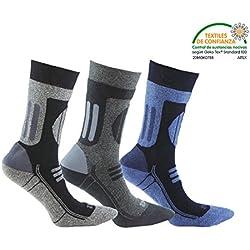 Calcetín de DEPORTE de alto rendimiento (3 pares). Con almohadillas de presión en las zonas de carga. Ideales para la practica de cualquier deporte como el ciclismo, futbol, triatlón, carreras, pádel, fitness, gimnasia, golf, tenis, etc. o para los amantes de las actividades al aire libre. En Gris, Blanco y Azul en combinación con color Negro. (Gris, Blanco y Azul, eu: 39 - 42 // uk: 6 - 8.5)