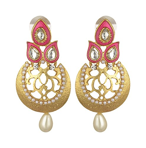 PUUSHPA CREATION Pink Pearl Dangle & Drop Earrings for Women (PCE549)  available at amazon for Rs.149