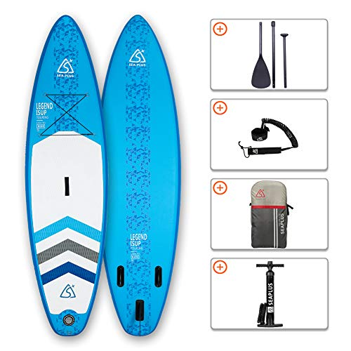 SEAPLUS Tabla de Paddle Surf Hinchable Tabla Stand Up Paddle Board Rígida Doble Capa con Accesorios de Remo de Aluminio/Inflador/Leash/Mochila, Carga hasta 130 Kg, L-BN 10'8'*32'*6'