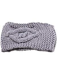 Koly Women s Winter Warm Skiing Cap Turban Knitted Empty Skull Beanie  Headband Ear Warmer (Grey ac763df6e2c8