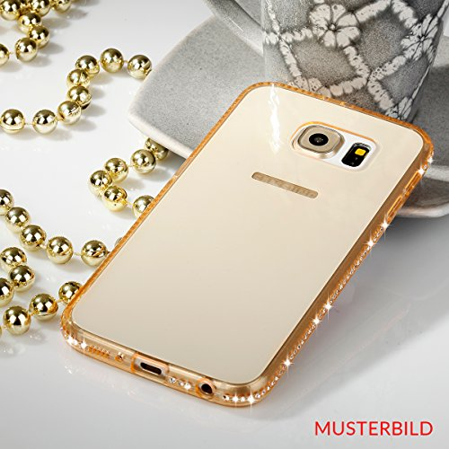 EGO® TPU Case Cover Bling Rhinestone Case Silicone Case Diamond Case voor de Samsung Galaxy S7 Gold Transparent Luxe Glitter Matt Case Crystal Case Shiny Case Ultra Thin Case Strass Klar Gold