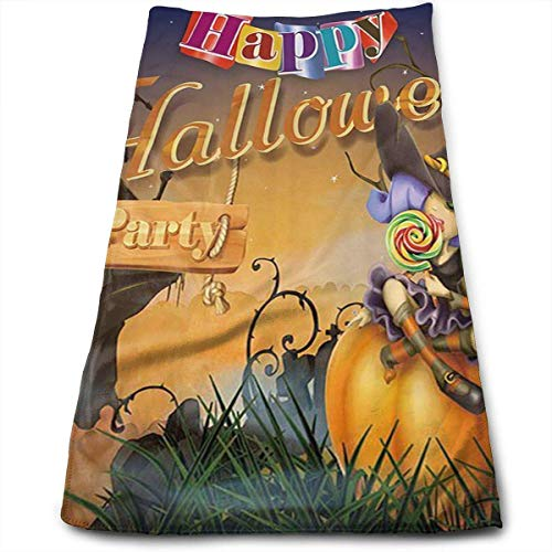 otton Happy Halloween Witch Pumpkins Plaid Dish Towels,Oversized Kitchen Towels for Drying,Cleaning,Cooking, Baking 30 x 70cm ()