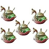 Crafticia Oxidized White Silver Metal Single Duck Shaped Glass Bowl Green Set Of 5 Decorative Antique Unique Traditional Handmade Handicraft Gift Item Home Table Wall Decor Pink City Rajasthani Showpiece :- 5 X 5 Inch