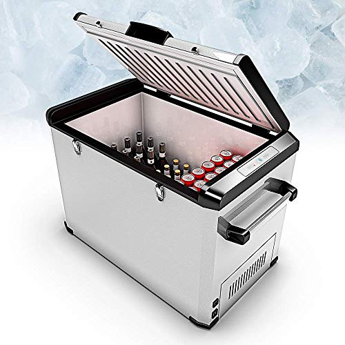 BLUEFIN Tragbare Kompressorkühlbox Mini Kühlschrank Gefrierschrank Elektrische Kühlbox Elektrokühlbox (24/33/42/60/80L) AC & DC Stecker | Essen, Getränke, Wein | Camping, Reise, Auto (80 Liter Silber)
