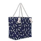 Große Strandtasche mit Reißverschluss 58 x 38 x 18 cm maritimes Design Möwe blau weiß Shopper...