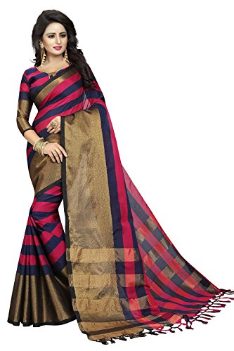 PerfectBlue Cotton Saree with Blouse Piece (I-00091_Pink_Free Size)