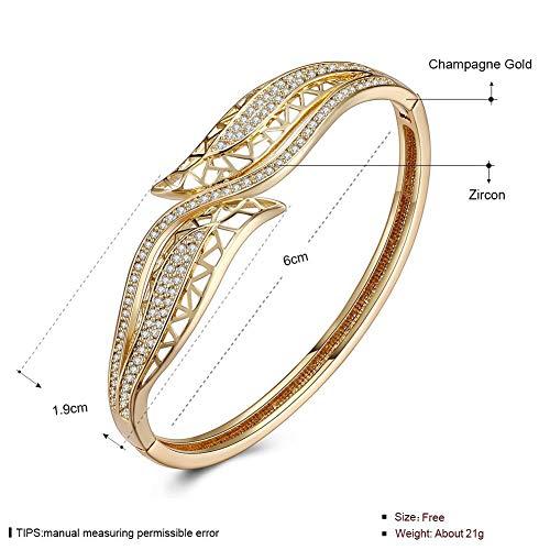 Ibuprofen Armreifen Armbänder Weibliche Geometrie Zirkon Pave Einstellung K Gold Zirkon Mode Armband mit Champagner Gold Mode Double-Headed Trend Armband, Weißes Gold