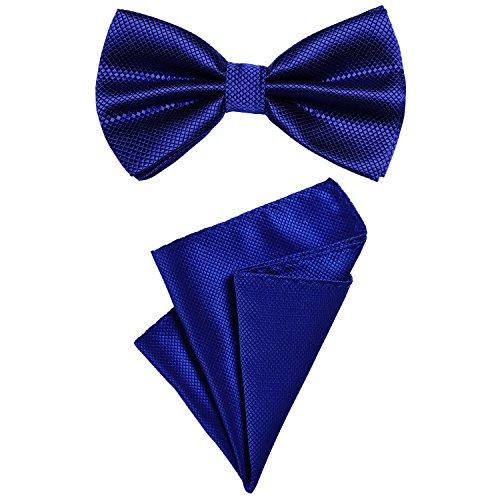 DonDon 2er Set Herren Fliege und Einstecktuch farblich passend gebunden und größenverstellbar blau