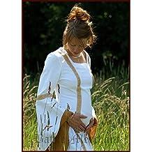 Rol en vivo medieval étnico boda vestido Sophia Color Blanco/okker S de XL Disfraz medieval vestido de mujer, blanco, medium