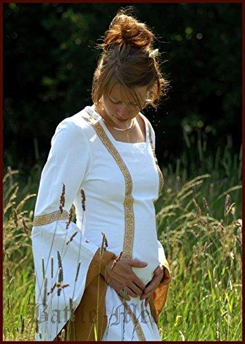 LARP Mittelalterliches Hochzeitskleid Sophia Farbe weiß/okker S-XL Kostüm Mittelalter Damen Kleid (L)