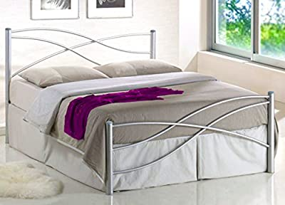 Kian Italian Design 4ft6 Silver Double Metal Bed Frame ON SALE produced by Harmin Ltd - uk fast delivery