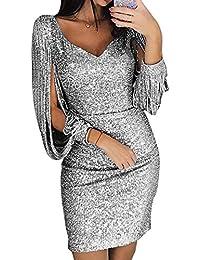 ffe656a7de7699 Avanon Glänzend Partykleid Damen Abendkleider Elegante Festliches Kleid  Fransen Langarm V-Ausschnitt Sexy Cocktailkleid für Hochzeit…