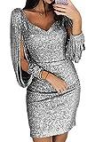 Ybenlover Damen Abendkleider Kurz Glitzer Sexy V-Ausschnitt Bodycon Paillettenkleid Cocktailkleid