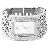 YESURPRISE Damen Modeuhr Armreifen Armkette Uhr Damenuhr Armbanduhr silber