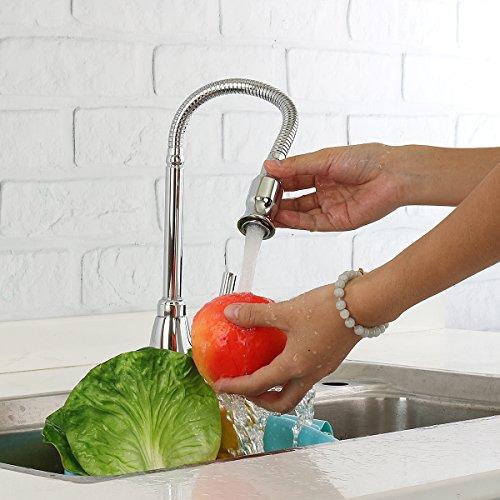 TAPCET Moderne Küche Mischbattrie Professionelle Spüle Küchenarmatur 360Grad Drehung Edelstahl Einzelner Halter Wasserhahn DE Standardbeschläge Qualitätsgarantie vorhanden - 6