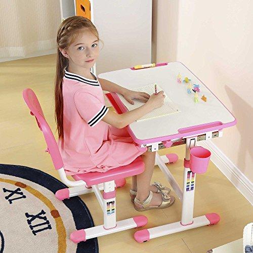 Escritorio para niños ergonómica mesa inclinable Silla de mesa ajustable para niños con cajón GRATIS Tilly Tigre - Mini (Rosa)