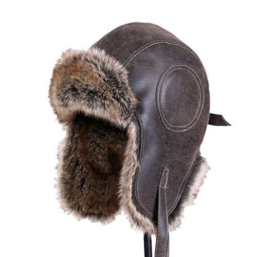 Nosterappou Lei Feng Chapeau, Chapeau de vélo Hiver Femme, Chapeau de vélo, Chapeau pour activités de Plein air, Chapeau de Laine Chaud, Casquette de Ski Hiver (Taille : M)