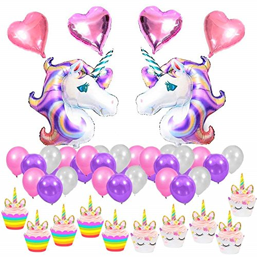 JeVenis 30pcs 34 inch Huge Unicorn Foil Balloon with Heart Foil Helium Balloons Lavender Pink Latex Balloon for Kids Birthday Decorations Party Decorations Supplies Baby Shower ...