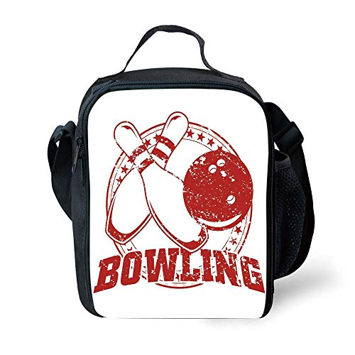 MLNHY School Supplies Bowling Party Decorations,Grunge Circle of Stars Vintage Distressed Emblem Design Typography,Red White for Girls or Boys Washable