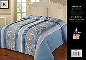 couvre lit matelass 2 personnes bleu azur cuisine maison. Black Bedroom Furniture Sets. Home Design Ideas