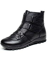 a4996b5e4c0d5 Gracosy Chaussure de Ville Femme, Bottines en Cuir Imperméable Casual Plat  Boots Hiver Bottes de Neige Fourree avec Doublure Fourrure - Noir…