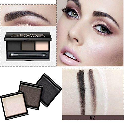 Moresave 3 Farbe Augenbrauen Lidschatten Pulver Palette mit Make-up Bleistift Schönheit Augenbrauen...