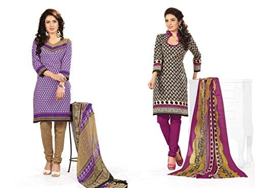 BanoRani Womens Combo Purple & Black Color PolyCotton Unstitched Dress Material