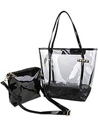 Zicac - Bolso de la Jalea de Mujer, Bolsa Transparente de PVC y Poliéster de Playa con el Bolso Cosmético Pequeño