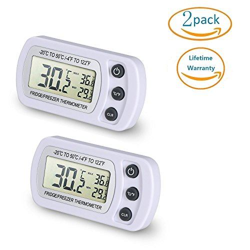 NEXGADGET 2 Pièces Thermomètres Réfrigérateurs LCD Digital Thermomètres Congélateurs Température de -20°C à +50°C (-4°F à +122°F) Idéal pour Maison Re...