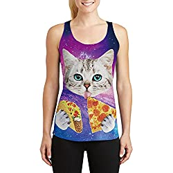 Leapparel Impresión del gato de la pizza del espacio de la Nebulosa de las mujeres camisetas de la camiseta del racerback de la aptitud de la yoga de la novedad del inconformista