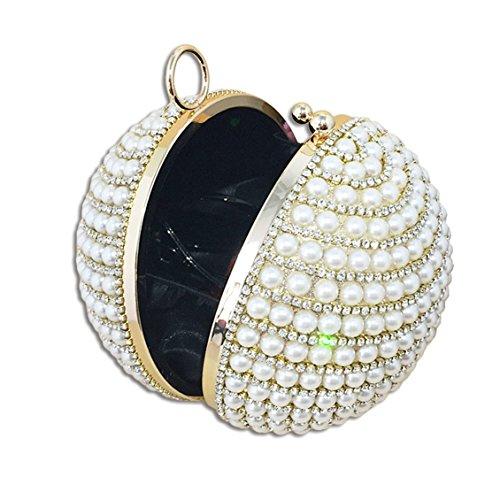 KAXIDY Forma Unica Pochette Donna Elegante Pochette da Sera Perline Incastonato Borsetta Da Sera Argento