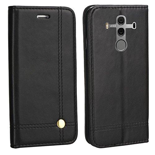MOELECTRONIX Edle Buch Klapp Tasche SCHWARZ Flip Book Case Schutz Hülle Etui für Huawei Mate 10 PRO Dual SIM BLA-L29