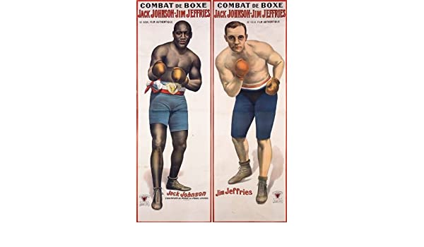 1910 Jack Johnson Jim Jeffries Boxing Poster A3 Print