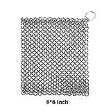 schrubber Sartén limpiador–Estropajos Cadena de acero inoxidable trenzado estropajo para hierro forjado de hierro fundido 8* 6Inch