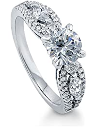 BERRICLE Rhodium Plated Sterling Silver Solitaire Promise Ring Made with Swarovski Zirconia