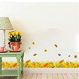 TIEZ Neue Wandsticker Dekoration im Wohnzimmer, die Gelbes Herbstlaub Fußleiste Linie veröffentlicht Drei PVC-Wandbilder, am7108-50 * 70cm